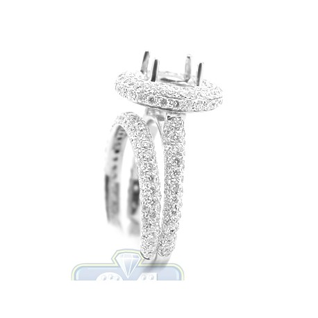 18K White Gold 1.79 ct Diamond Engagement Wedding Rings Set