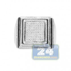 14K White Gold 1.41 ct Diamond Mens Signet Ring