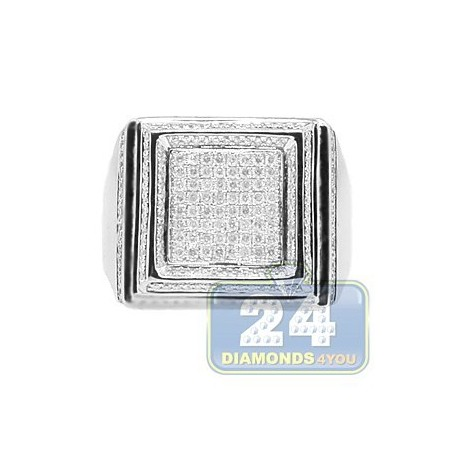 14K White Gold 1.41 ct Diamond Square Mens Ring