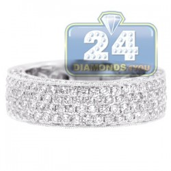 18K Gold 2.15 ct Half Way Diamond Mens Wedding Band Ring