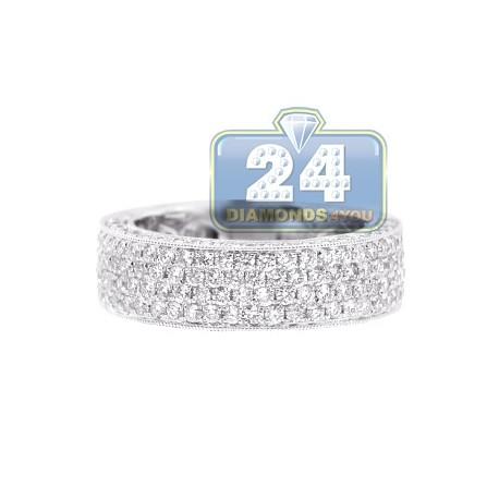 18K White Gold 2.15 ct Half Way Diamond Mens Wedding Band Ring