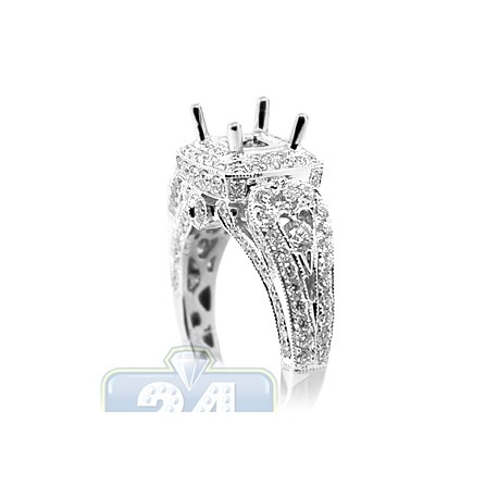 18K White Gold 1.58 ct Semi Mount Setting Womens Engagement Ring