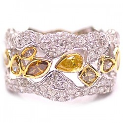 14K White Gold 2.78 ct Fancy Yellow Diamond Womens Ring