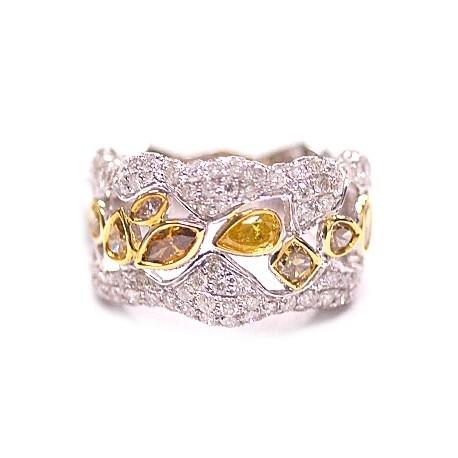 14K White Gold 2.78 ct Fancy Yellow Diamond Womens Ring