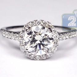 Womens Diamond Engagement Ring Wedding Band Set 18K White Gold