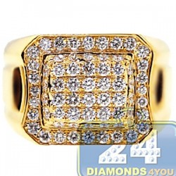 14K Yellow Gold 1.75 ct Diamond Mens Classic Signet Ring