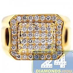 14K Yellow Gold 1.75 ct Diamond Mens Classic Signet Ring