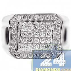 14K White Gold 1.76 ct Diamond Mens Classic Signet Ring