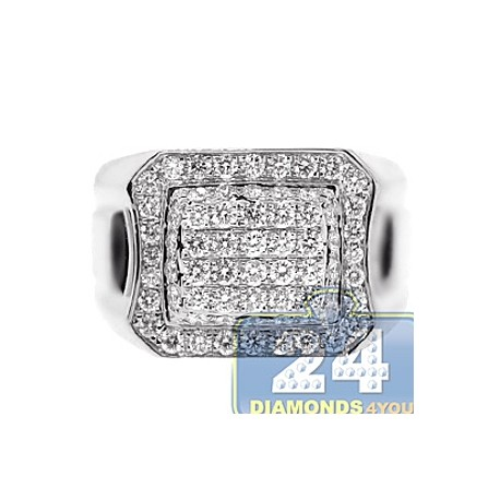 Mens SI1 G Diamond Classic Signet Ring 14K White Gold 1.76ct