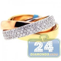 18K 3 Tone Gold 1.25 ct Diamond Womens Three Bands Rolling Ring