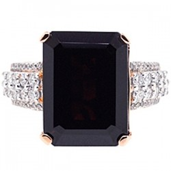 18K Rose Gold 16.40 ct Garnet Diamond Womens Ring