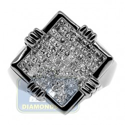 Black 14K Gold 1.66 ct Princess Cut Diamond Mens Signet Ring
