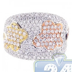 14K Three Tone Gold 2.76 ct Diamond Womens Flower Ring