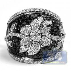 14K White Gold 2.36 ct Black Diamond Womens Flower Band Ring