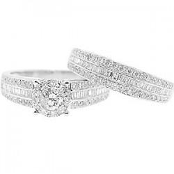 14K White Gold 1.64 ct Diamond Engagement Wedding Rings Set