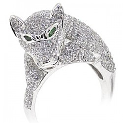 14K White Gold 2.97 ct Diamond Emerald Panther Cat Head Ring