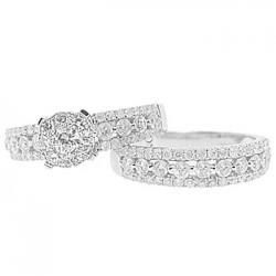 14K White Gold 2.07 ct Diamond Engagement Wedding Rings Set