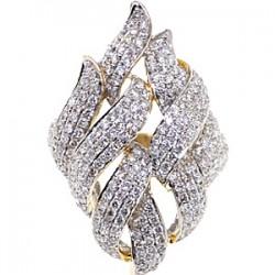 14K Yellow Gold 2.73 ct Diamond Womens Leaf Ring