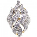 14K Yellow Gold 2.73 ct Diamond Womens Leaf Ring