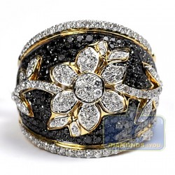 14K Yellow Gold 2.33 ct Black Diamond Womens Flower Ring