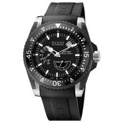 Gucci Dive Automatic Black PVD Rubber Mens Watch YA136201