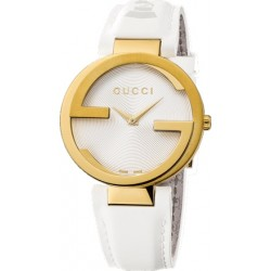 Gucci Interlocking Latin Grammy Gold Steel Womens Watch YA133313