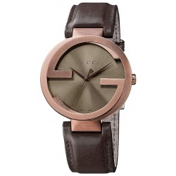 Gucci Interlocking Brown PVD Leather Mens Watch YA133207