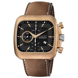Gucci Coupe Automatic Chrono Bronze Steel Mens Watch YA131205