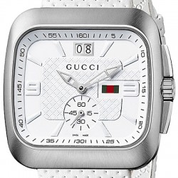 Gucci Coupe Quartz Web White Dial Mens Steel Watch YA131303