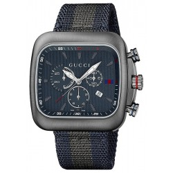 Gucci Coupe Quartz XL Gray PVD Web Nylon Mens Watch YA131203