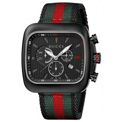 Gucci Coupe Quartz XL Web Nylon Black PVD Mens Watch YA131202