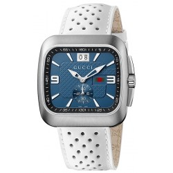 Gucci Coupe Quartz White Blue Mens Steel Watch YA131304
