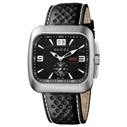 Gucci Coupe Quartz Black Dial Mens Steel Watch YA131302