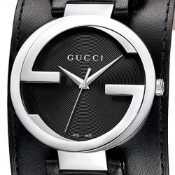 Gucci Interlocking Grammy Special Cuff Black Dial Watch YA133201