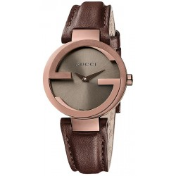 Gucci Interlocking Small Brown PVD Womens Watch YA133504