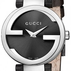 Gucci Interlocking Black Dial Womens Steel Watch YA133501