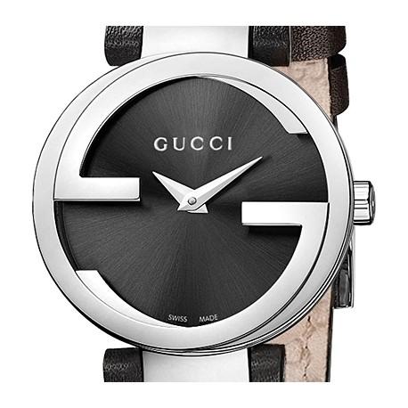 Gucci Interlocking Black Dial Womens Steel Watch YA133501