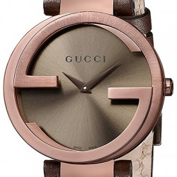Gucci Interlocking Large Brown PVD Leather Womens Watch YA133309