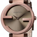 Gucci Interlocking Brown PVD Leather Womens Watch YA133309