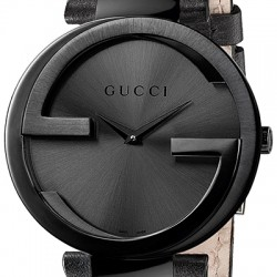 Gucci Interlocking Large Black PVD Womens Watch YA133302