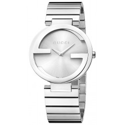 Gucci Interlocking Large Steel Bracelet Womens Watch YA133308