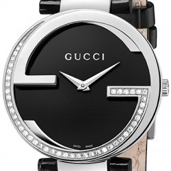 cb6dcaa492f Gucci Interlocking Large Diamond Steel Womens Watch YA133305