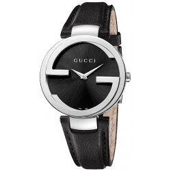 Gucci Interlocking Large Steel Leather Womens Watch YA133301