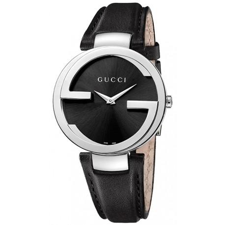 Gucci Interlocking Large Steel Leather Womens Watch YA133301