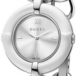 Gucci Bamboo White Quartz Steel Bangle Womens Watch YA132406