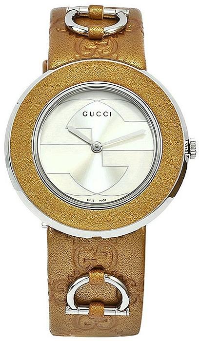 b7879762fb0 Gucci U-Play Medium Gold Steel Leather Womens Watch YA129408