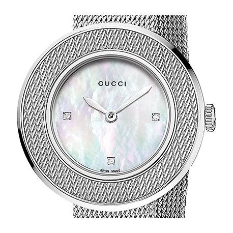 5b0a81c18d2 Gucci U-Play Small Steel Mesh Bracelet Womens Watch YA129517
