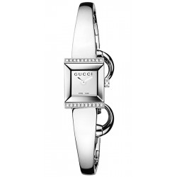 Gucci G-Frame Bangle Diamond Steel Womens Watch YA128504