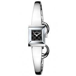 Gucci G-Frame Bangle Black G Dial Steel Womens Watch YA128512