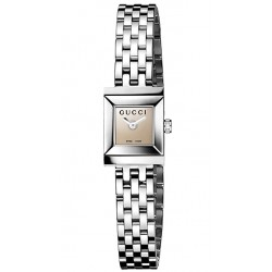 Gucci G-Frame Square Case Brown Steel Bracelet Watch YA128501